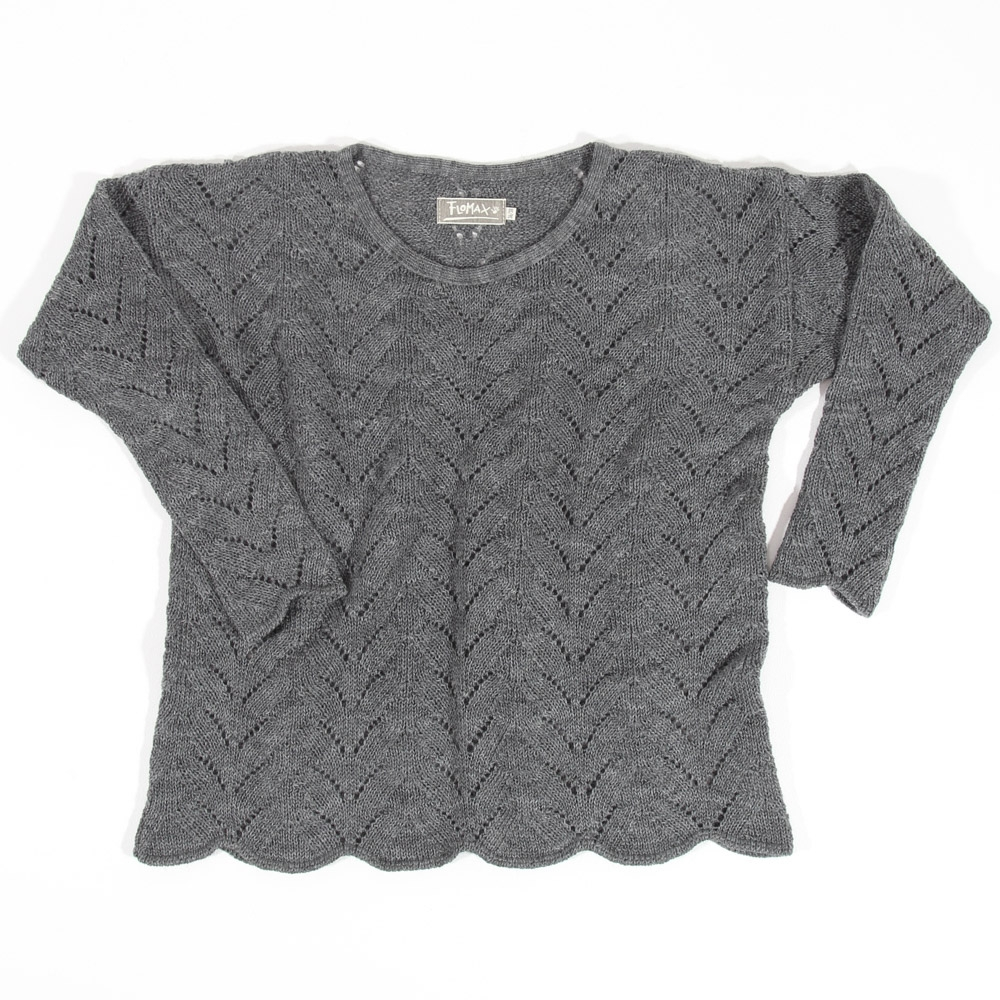 Ajour Oversize Pullover Sina   schiefer