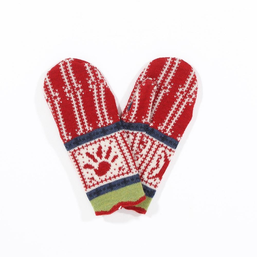 Handschuhe Nicki mohnrot|natur