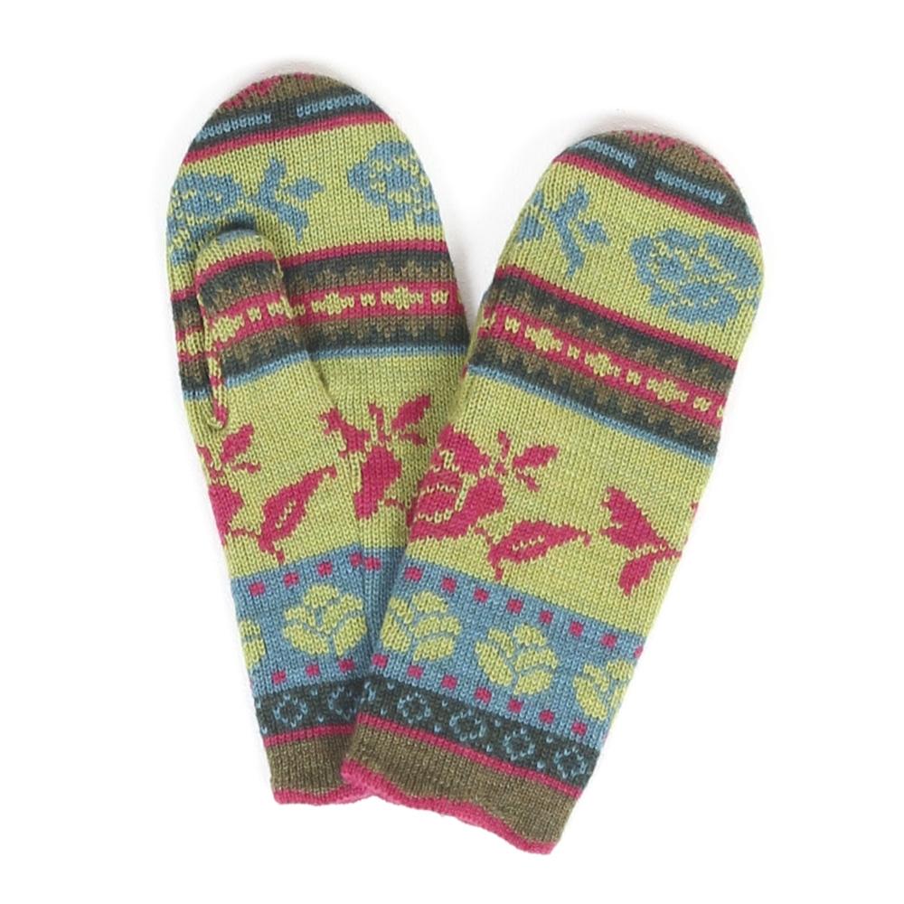Handschuhe Bordüre maigrün|türkis