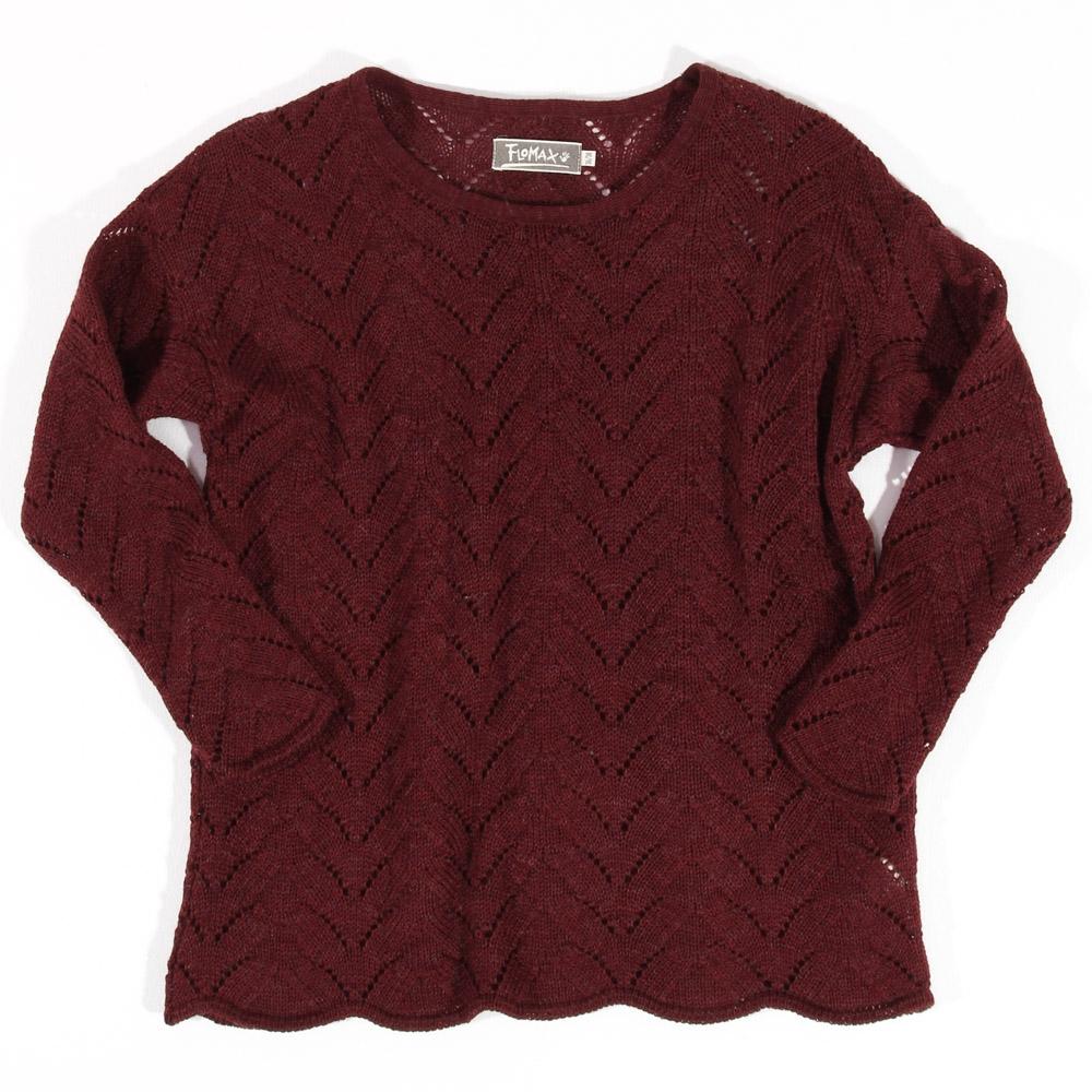 Ajour Oversize Pullover Sina | burgunder