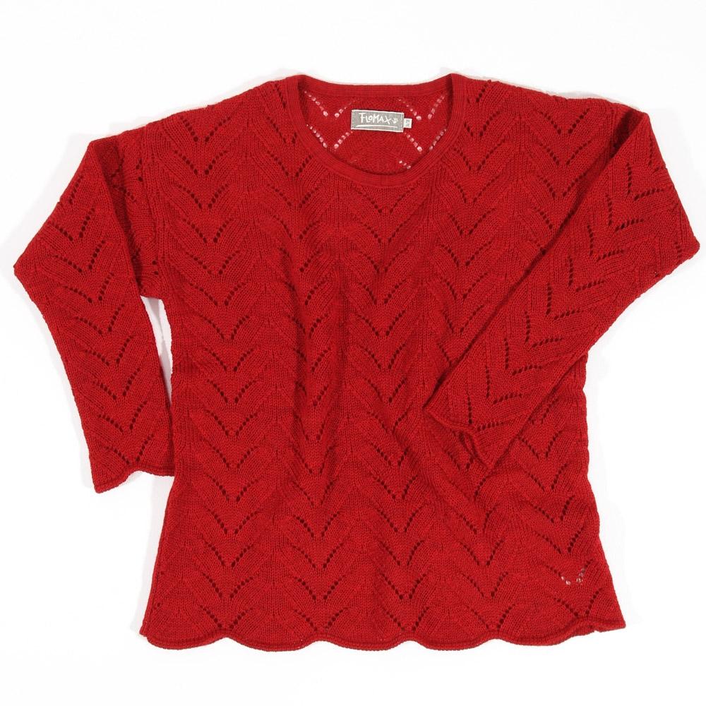Ajour Oversize Pullover Sina | mohnrot